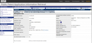 Figure 3- information related to a patent application